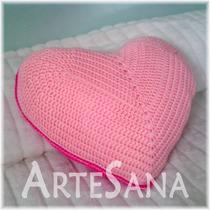 Almohadones A Crochet - Corazón - Artesanales