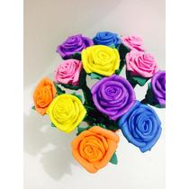 Kit 12 Canetas Decoradas Com Flores Em Eva