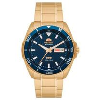 Relógio Orient Dourado Automático Mostrador Azul +frete