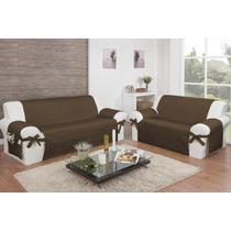 Capa Protetor De Sofá Com Laços Bel Microfibra 3 E 2 Lugares