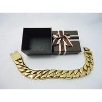 Pulseira Masculina Dourada 12mm Banhada Ouro 18k