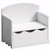 Porta Brinquedo Banco Caixa Baú Mdf 15mm Branco