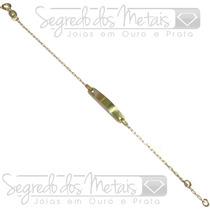 Pulseira Infantil Chapinha Placa Ouro 18k + Gravação Do Nome