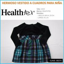 Hermoso Vestido A Cuadros Para Niña Marca Healthtex T18 M