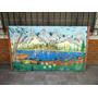 Cartel Paisaje - Campo Montaña Barco - Vintage Retro Antiguo