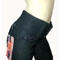 Pantalón Jean Elastizado Negro Con Encaje-calza Con Cinturón