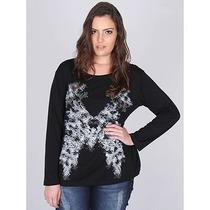 Blusa Plus Size Feminina Mulher Única - Preto