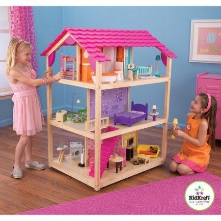 Kidkraft casa de mu ecas de madera tan elegante con 45 for Casa madera infantil