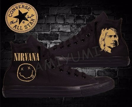 6f4b43d83 All Star Nirvana Tênis Converse Black Edition Custom - R  299