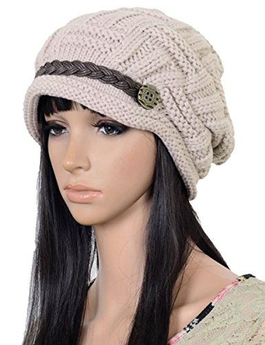 Elacucos Mujeres Winter Beanie Cabled Checker Patrón Teje ...