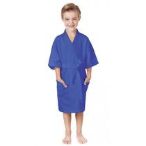 Roupão De Banho Menino Infantil Azul G 12 A 14 Anos Lepper