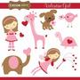 Kit Papel Digital Scrapbook Cocoamint Valentine Girl 50
