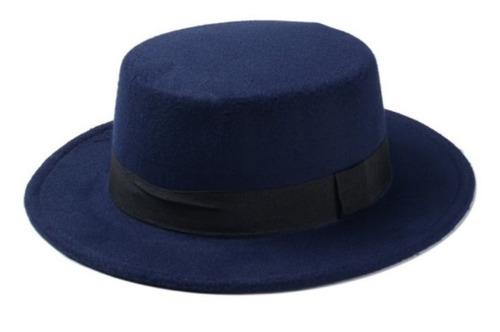 Chapéu Palheta De Lã Azul Marinho Com Faixa Preta - R  129 2b79f76f95b