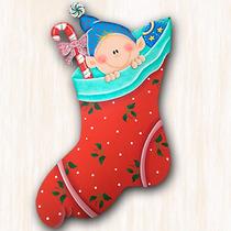 Colgante De Navidad - Bota Con 1 Duende - Adornos Navideños