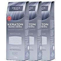 Keraton Banho De Brilho Prata - Kert 100g C/3