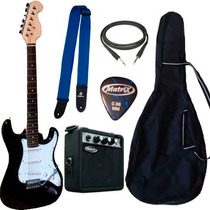 Combo Guitarra Electrica Stratocaster Ampli 5w Accesorios