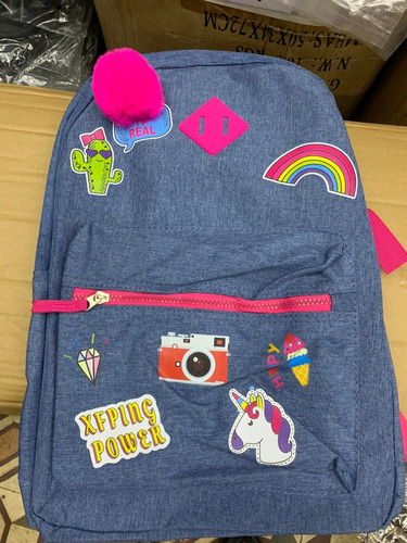 9e67496206 Kit 5 Mochila Unicórnio Feminina Juvenil Jeans Estampada - R  150
