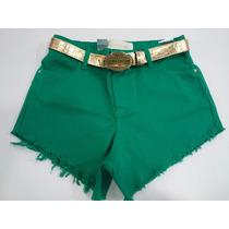 Roupa Feminina Short Coca-cola Jeans Com Cinto Dourado
