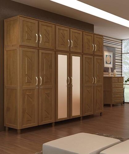 Guarda roupa roupeiro 6 portas madeira maci a shopping for Modelos de zapateras en closet