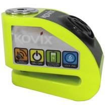 Trava De Disco Com Alarme Moto Verde Fluorescente - Kovix