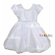Vestido De Festa Infantil Batizado, Dama De Honra E Tiara
