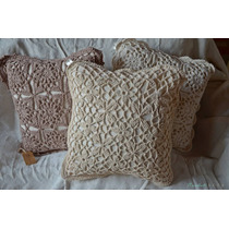 Funda De Almohadon Patchwork Crochet Ñandutí Deco