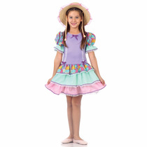 Festa Junina - Vestido Caipira Babados Basic - G - Lilas