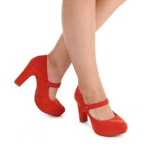 Sapato Boneca Salto Feminino Lara - Vermelho