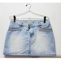 Saia Jeans Com Detalhes Colorido