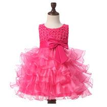 Vestido De Fiesta De Olanes Para Bautizo O Paje Para Niña
