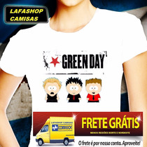 Camiseta Green Day Camisa Baby Look Feminina South Park