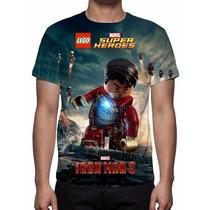 Camisa, Camiseta Game Lego Homem De Ferro 3 - Estampa Total