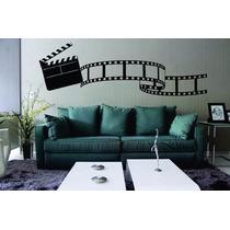Adesivo De Parede Sala Cinema Rolo Filme Claquete Música