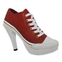 Sneaker Salto Alto Tenis Vermelho Preto Rosa Tipo All Star