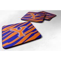 Conjunto De 4 Monograma - Raya Del Tigre - Azul Naranja Espu