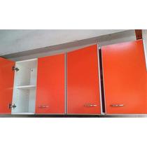 Alacena De 1,40 Mts. Con Cantos De Aluminio. Color Naranja.
