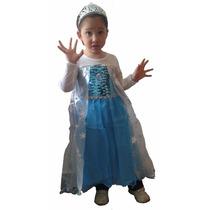Disfraz Elsa Frozen Corona, Prendedor, Barita Y Mechon Rubio