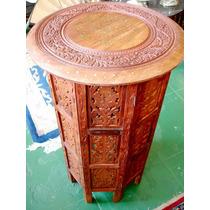 Mesa Auxiliar Ou Lateral De Canto Em Madeira Esculpida A Mão