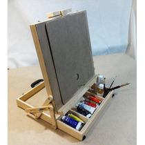 Set, Kit, Pintura Oleo Portafolio, Caballete, Bastidor, Arte