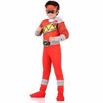 Fantasia Power Rangers Vermelho Infantil Dino Charge Luxo