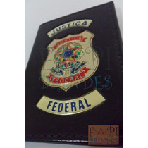 Carteira Em Couro Com Brasão Distintivo Justiça Federal P75p