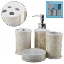 Kit Saboneteira Toalete Banheiro 4 Peças Em Porcelana Jogo