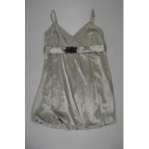 Minivestido Rosh-saten Dorado-falda Globo-piedras Negras