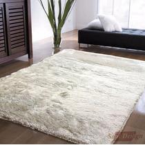 Carpeta Alfombra Shaggy Bengala Blanca 140 X 200cm Fundasoul