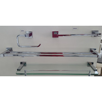 Kit Acessórios Banheiro Metal Cromo E Vidro Alto Padrão
