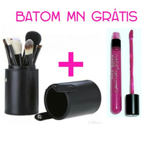 Kit 12 Pincéis Maquiagem Profissional + Batom Mn Liquido