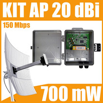 Kit Cliente 1000 Mw 150 Mbps + Poe + Antena Aquário 20 Dbi
