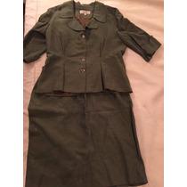 Conjunto Pollera Y Saco Dama Olga Naum Color Verde Oscuro
