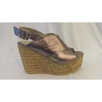 Zapato Cuero Peltre, Suela De Corcho Y Taco Chino.marca Alen