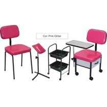 Cirandinha Manicure+ Cadeira+ Carrinho+ Tripe= Pink Glitter